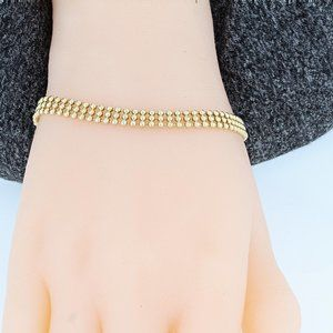 Jewelry - 14K Gold Triple-Strand Bead Bracelet